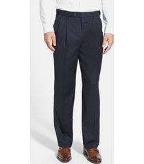 men's berle self sizer waist pleated classic fit wool gabardine dress pants, size 38 x unhemmed - blue