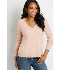 maurices womens solid destructed v neck pullover pink