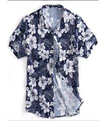incerun hombre verano ocio vacaciones camisa top de manga corta con estampado tropical