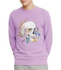 eleven paris men's floral skull fleece sweatshirt