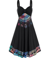 colorful printed ruched cami a line dress