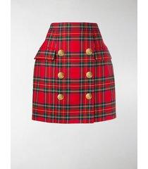 balmain high-waist check print skirt