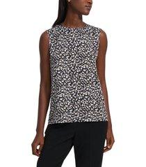 women's theory print sleeveless blouse, size xx-large - blue