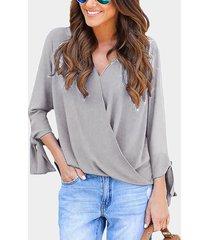 grey crossed front design v-neck self-tie design long sleeves t-shirts