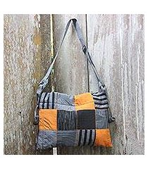 cotton shoulder bag, 'legendary grey' (indonesia)