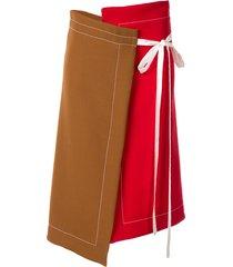 marni asymmetric ribbon tie skirt - brown