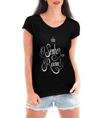 camiseta blusa t shirt bata criativa urbana o senhor reina gospel textos - feminino