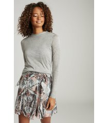 reiss ariella - paisley printed skirt in grey, womens, size 14