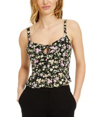 bar iii floral-print peplum camisole top, created for macy's