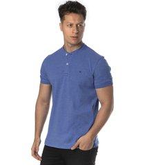 camiseta azul henley americana regular fit alfaiataria burguesia - azul - masculino - algodã£o - dafiti