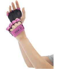 luvas para academia oxer protetor palmar com dedos - feminina - rosa