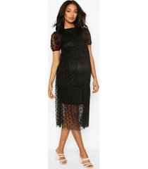 maternity dobby mesh tier dress, black