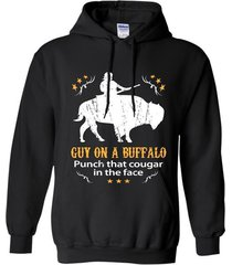 guy on a buffalo punch that cougar in the face t-shirt hoodie