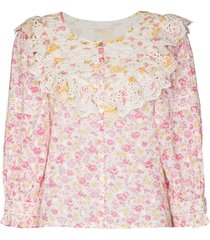 loveshackfancy canna floral-print top - white