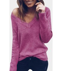 ciruela cuello en v mangas largas dobladillo ajustado casual suéter