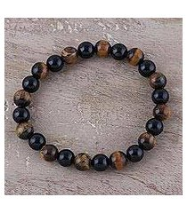 tiger's eye and onyx beaded stretch bracelet, 'silent forest' (india)