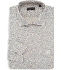 floral-print cotton-linen dress shirt
