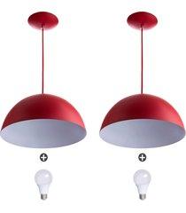 2 lustres pendente meia lua 40cm alumínio vermelho + lampada