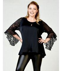 blusa negra lecol talles reales anna plus size