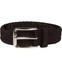 tods dark brown woven belt