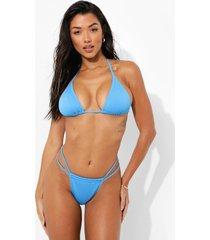 geribbelde driehoekige bikini top, blue