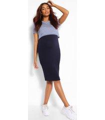 maternity stripe 2 layer nursing dress, navy