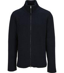 maison margiela martin margiela black ribbed-knit zip-front cardigan