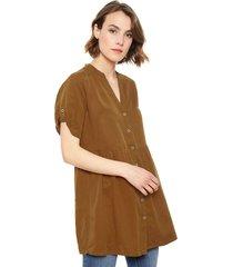 blusa only fchilli life túnica marrón - calce holgado