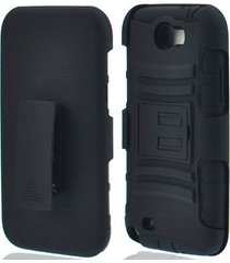 black rugged heavy duty case with belt clip for samsung galaxy note 2 ii gt-n710