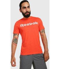 camiseta naranja-blanco reebok linear read tee