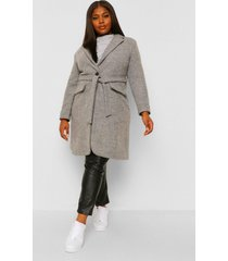 plus belted button up wool look coat, grey
