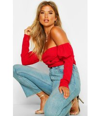 off the shoulder puff sleeve top, red