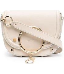 see by chloé mara ring-embellished crossbody bag - neutrals
