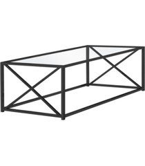 "monarch specialties nickel metal tempered glass 44""l coffee table in black"