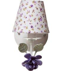 arandela 1 lâmpada flor potinho de mel lilás