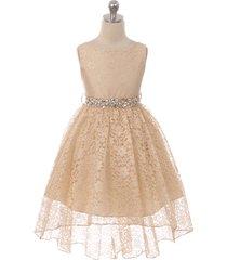 champagne sleeveless full lace high-low skirt rhinestones belt flower girl dress