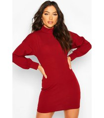 tie back mini dress with balloon sleeves, wine