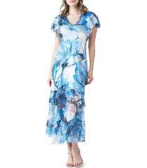 women's komarov floral flutter sleeve charmeuse & chiffon dress, size medium - blue