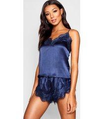 hemdje met kanten afwerking en shorts set, marineblauw
