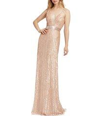 women's mac duggal vertical stripe sequin gown, size 6 - pink
