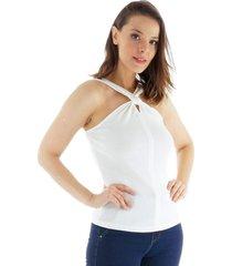 regata decote nã³ loony jeans - off-white - feminino - dafiti