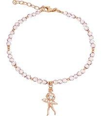 bracciale ballerina in argento 925 dorato rosé, zirconi e cristalli per donna