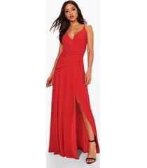 strakke bruidsmeisjes maxi wikkel jurk met ruches en bandjes, rood