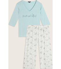 pijama camiseta manga 3/4 con screen y pantalón largo estampado-xs