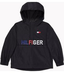 tommy hilfiger boy's adaptive hilfiger lightweight hooded jacket deep black - s