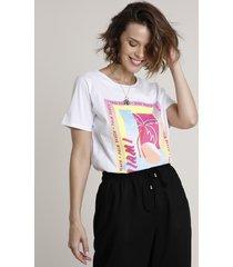 "blusa feminina ""pool party miami"" manga curta decote redondo branca"