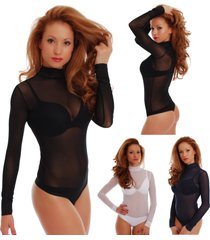 sexy mesh women bodysuit turtle neck long sleeve thong tulle 341 leotard body