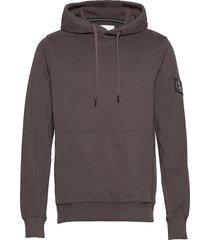 monogram badge hoodie hoodie grå calvin klein jeans