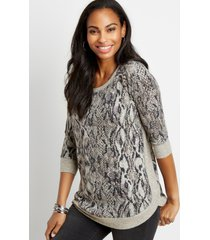 maurices womens gray snakeskin round hem pullover