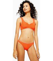 neon orange crinkle high leg bikini bottoms - orange